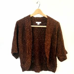 Chocolate and copper crochet shrug L